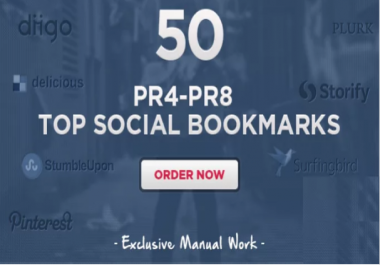 I will do 125 Manual Social Bookmarking Submissions PR 9 to 1 and 1200 forum backlinks