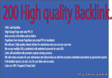 Submit 200 High PR 3-9 Backlink for $2