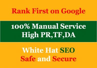Create 10 High pr da backlinks manually white hat SEO