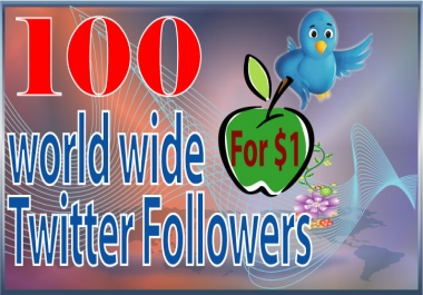 Give you 100 World wide Twitter Like