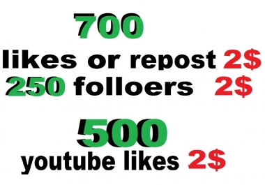 700 soundcloud likes or 700 repost or 250 soundcloud followers or 100 comments or  500 youtube likes