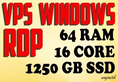 VPS RDP Windows 64 GB RAM 16 Core 1.25 TB SSD RENEWABLE