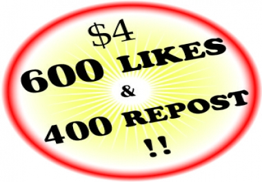 600 Soundcloud Likes And 400 Reposts