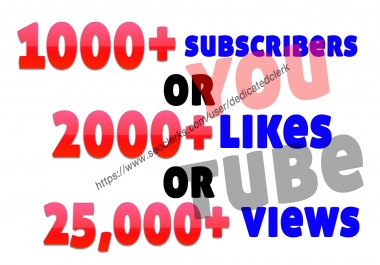 add 1000+ youtube subscribers or 25,000+ non-drop guaranteed YouTube views or 2000 youtube likes