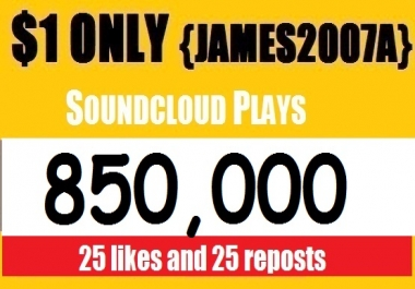 850,000 SOUNDCLOUD USA Plays with usa 25 Likes and 25 reposts