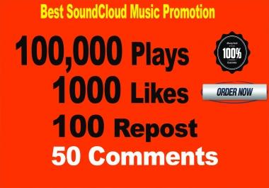 100,000 SoundCloud Plays 1000 Likes 100 Repost 50 Comments