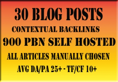 Improve Your Rankings with 30 High Metric PBN Blog Posts