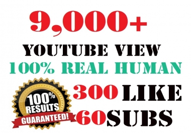 8,000 HR youtube Views + 200 youtube Likes + 50 subscribers  + 5 comments