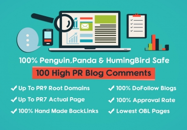 Offer 100 High Quality PR9 Do-follow blog comments backlinks + Guaranteed Top Result in 30 days