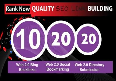 Provide Web 2.0 (Blog backlinks+Social bookmarking+ Directory submission) Pr9 To Pr6