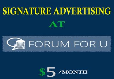 One month signature advertising