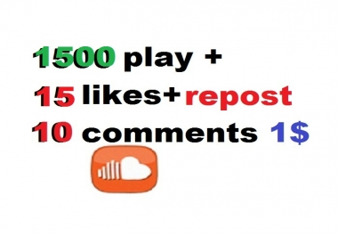 1500 sound cloud plays 15 likes and repost and  10 co... for $1