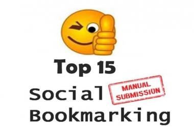 Submit MANUALLY Top 15 High DA (30 +) Social Bookmarking