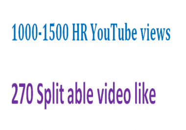 Add 1000-1200 plus YouTube views + 100 YouTube video like &10 channel subscribers