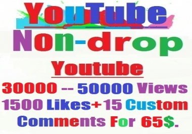 Non-drop 30,000---50,000 YouTube views+1500 likes+15 custom comments within 72--- 240 hours