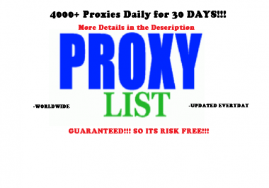 Will send you 1000+ Fresh Proxies Daily for 30 Days