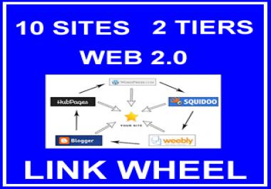 10 Site Two Tier New Web 2.0 Link Wheel Backlinks