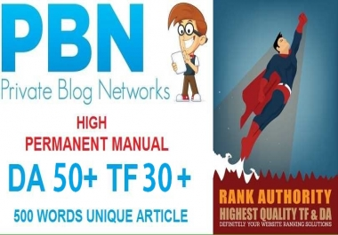 PERMANENT MANUAL 5 High DA50+ PA50+ TF30+ CF40+, PBN Backlinks - Homepage Quality Links
