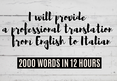 Translation from english to italian up to 2000 words