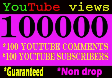 Package offer 100k/100000 YouTube views add 100 comments add 100 subscribers