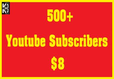 500+ Youtube Subscribers Safe & Non Drop