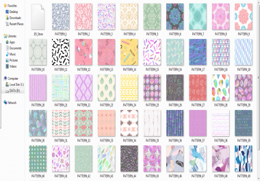 give 60 high-quality fonts and 2377 graphics Pattern Design Bundle
