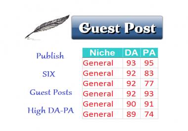 Publish 6 Guest Posts on GENERAL Niche DA>80 Content Marketing
