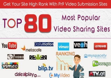 Submit VIDEO To Eighty Video Sharing Submission PR9 Sites