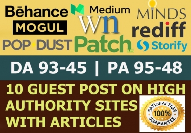 Write Publish 10 X High Authority Guest Post [DA 93-45] Not PBN,From Real Sites  only