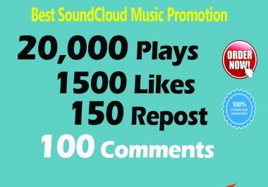 20,000 Soundcloud Plays 1500 Likes 150 Repost 100 Comments