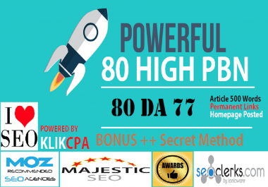 80 PowerFul High PBN Permanent Manual PA 60 Homepage PBN Links
