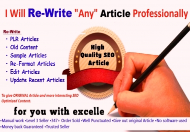 Professionally  Re-Write PLR or Any Articles  To give ORIGINAL Quality Article and SEO Optimized Contents BONUS included   !!!