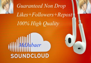 Soundcloud Real 100+Followers+100+Likes+100+Repost Within 2-3 Hours