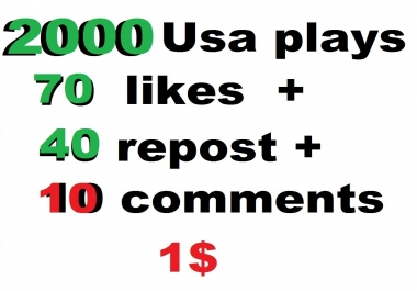 2000 high retention usa soundcloud plays 70 likes and 40 repost and 10 comments