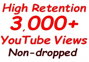 2000 to 3000 YouTube Views & 100+ video likes bonus all non-dropped guaranteed