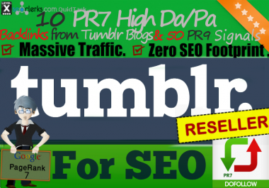 Reseller offer - 10 Tumblr Posts with HIGH PA/DA - Authority SEO Service