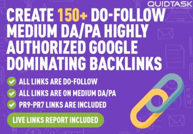 Create 150 Do-Follow Highly Authorized Google Dominating Backlinks