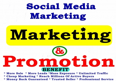 Massive PROMOTION - Provide Complete Highly Professional Social Media Marketing Across Social Medias Reaching Over 3,000,000 OR  5,000,000 Real Human Audience - REAL Human - Delivered Within 24hrs!!!
