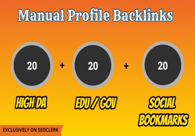 Do Profile Backlinks 20 High DA + 20 Edu/Gov + 20 Social Bookmarks