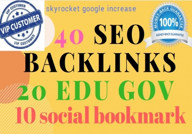 provide you 40 Pr9 backlinks+ 20 edu gov links+ 10 social bookmarking
