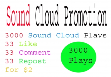 GOOD Soundcloud promotion 3100 plays 33 like COMMENT REpost within 24 or 48 hours delivERY