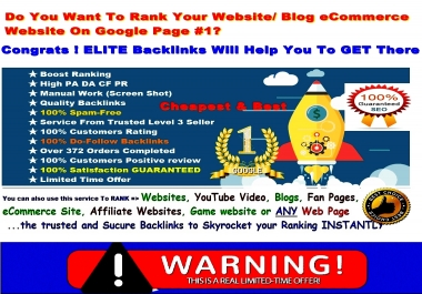 NEW 120+ Elite BOOSTER- Rank Your Website In Google With Verified ELITE Backlinks AUTHORITY Pr 7 - 9 High PA DA TF CF Backlinks To Boost Your Ranking Instantly-GUARANTEED Ranking-with Bonus HURRY Now