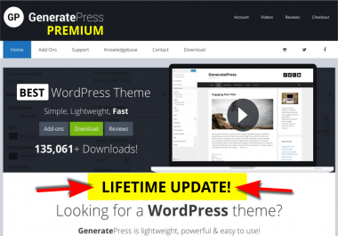 """Install The Fastest Premium Wp Theme On Your Site """" GeneratePRESS"""""""