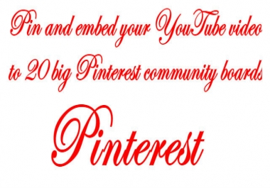 Pin and Embed your Video to Big 20 Pinterest Community Boards