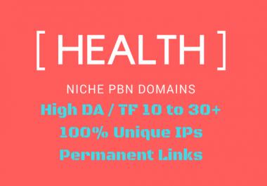 3 x Aged 'HEALTH' Niche Permanent PBN links DA TF 10to30+