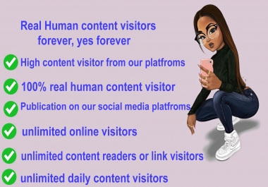Real Human content visitors on your content