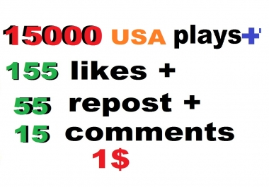 15000 usa high retention soundcloud plays 155 likes 55 repost and 15 comments