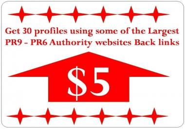 Get 60 profile BackLinks with PR9 - PR6 Authority websites Back links