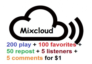 mixcloud 200 play plus 100 favorites plus 50 reposts plus 5 listeners and 5 comments