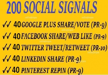 200 SOCIAL SIGNALS SEO BACKLINK BOOKMARK SHARE FROM G... for $1